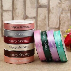 5-10metres 20mm Satin Printed Happy Birthday Ribbon Many Shades Cut Length Gift