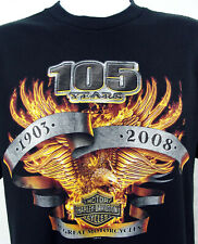 2008 Harley Davidson 105 Years HD Brand Black T Shirt Size XL Flaming Eagle USA