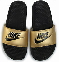 Women's Nike Benassi JDI Sliders black metallic gold UK 3.5 - 4.5 for beach pool
