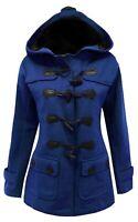 16-26 Ladies New Royal Blue Fleece Duffle Style Hooded Coat Long Jacket Womens