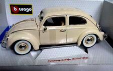 BURAGO 1:18 AUTO DIE CAST VOLKSWAGEN KAFER BEETLE 1955 BEIGE ART 18-12029