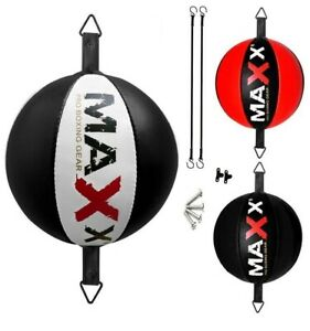 Maxx Rex Leather double end bag Floor to Ceiling ball Punch bag speed ball+hooks