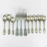 Antique Silverplate Flatware Fiddleback with Wings Collection 11 Pieces