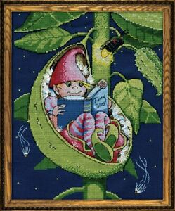 """Design Works Counted Cross Stitch Picture Kit Bedtime Fairy  9"""" X 12"""" 14 Count"""
