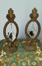 Antique couple Deco table Lamps brass crystal bedside