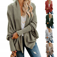 Womens Open Front Kimono Batwing Cable Knitted Oversized Wrap Cardigan Sweater
