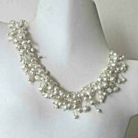Vintage White Freshwater Dancing Pearls Torsade Necklace Wedding Office Party