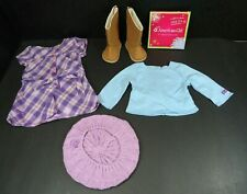 American Girl Pretty In Plaid Outfit Complete Purple Dress Hat Boots Shirt Charm