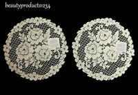 """HERITAGE LACE Set of 2 Doilies Ecru VICTORIAN ROSE 11"""" Round Made USA LACE Doily"""