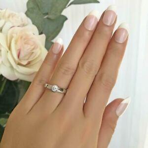 14K White Gold Finish 1.4CT Bezel Set Round Cut Diamond Engagement Promise Ring