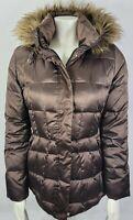 Calvin Klein Womens small Puffer Jacket Winter Coat Brown bronze Down Faux Fur