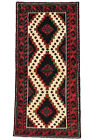 Vintage Tribal Oriental Balouch Rug, 3'x6', Ivory/Red, Hand-Knotted Wool Pile
