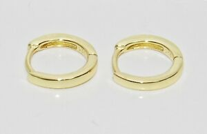 9ct Yellow Gold on Silver Huggie Cuff Stud Earrings ~ New ~ Men's or Ladies