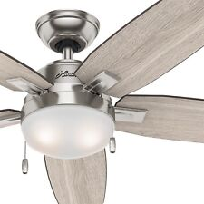"Hunter 54"" LED Ceiling Fan with Light Kit in Brushed Nickel - Contemporary"