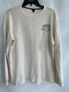 Tommy Hilfiger Boys Thermal Shirt Ivory Long Sleeve Waffle Knit Crew Neck XL