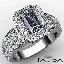 Emerald Cut Diamond Sturdy Halo Engagement Ring EGL F SI1 14k White Gold 2.55ct