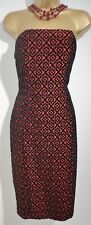 NEXT Black Orangy Red Velour Patterned Strapless Wiggle Dress UK SIZE 10