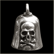 MOTORCYCLE SKULL & CROSS BONES GREMLIN BELL KEY RING BIKER GIFT + STORY CARD