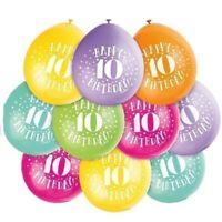 "10 x Happy 10th Birthday 9"" Latex Balloons Mixed Air Fill Party Decoration Ten"