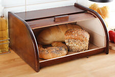Dark Brown Wooden Bread Bin Box Container Storage Loaf Roll 16x26x30cm Small