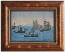 Gouache de marine navires vapeur et voile époque début XXème