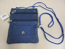 """Royal Blue Li Leather Neck Purse with String 7"""" x 5.5"""" with Zipper Pockets C-13"""