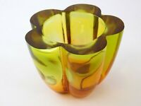 Yellow Orange Gradient Glass Flower Vase Made in Spain Five Petal Design 3.5 In