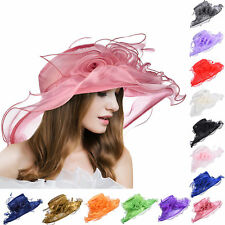 5e77ec54 A341 Women Wide Brim Kentucky Derby Dress Sun Floral Hats Floppy Church  Wedding