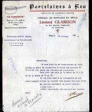 """PARIS (IX°) PORCELAINE à FEU / MONTURES en métal """"Léonard GLARDON"""" en 1924"""