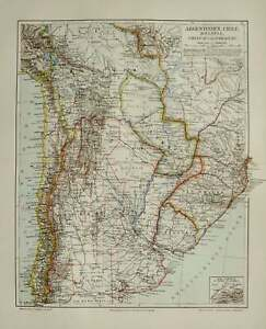 1890 Antique map of ARGENTINA, BOLIVIA, URUGUAY, Paraguay, Chile. South America.