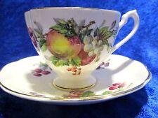 Queen Anne Vintage Tea Cup & Saucer Fine Bone China Fruit Series