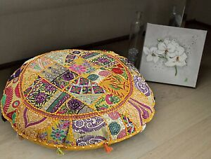 """22"""" Indian Handmade Cotton Patchwork Round Floor Cushion Cover Decorative Throw"""