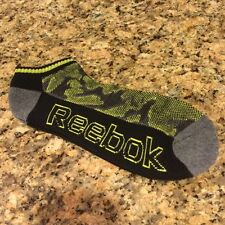 REEBOK Mens Socks Low Cut No Show Athletic Black Yellow Camo L (6-12.5) New