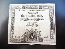 assignat de 15 sols  janvier 1792  série 494