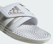 ADIDAS ADISSAGE SLIDES White / Platin Met Stripes UK Size 10.