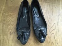 TOD'S Patent Leather Tassel Loafers SHOES SIZE 36 UK 3 US 6