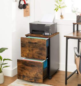 Industrial Filing Cabinet Office Storage Drawers Rustic Metal Unit Vintage Wheel