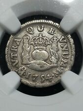 Scarce 1754 Mo Mexico 1/2 Reale Crown Ngc Rare Colony Milled U.S. Silver Coin $