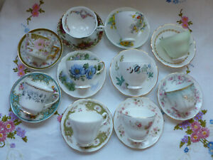 PRETTY VINTAGE CHINA 10 TEA CUPS & 10 SAUCERS ~ MISMATCHED PINK, GREEN & FLORAL