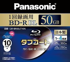 10 Panasonic 3D Blu Ray 4X Speed BD-R DL 50GB Bluray Rohlinge Inkjet-Druck