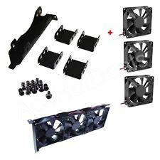 3 Fans Mount Rack PCI Slot Bracket for Video Card  +3 80MM PC Case Fan