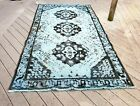 Distressed Hand Knotted Vintage Blue Rug 5' x 9.7'