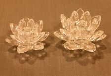Pair Swarovski Austrian Crystal Open Flower Candle Holders in perfect condition