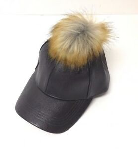 NEW Men Women PU Faux Leather W/ Faux Fur Pom Baseball Cap Hat Adjustable Gray