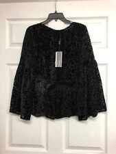 NWT KAS New York BLACK Velvet BURNOUT Bell Sleeve top