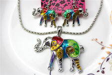 New Betsey Johnson jewelry sets Enamel Elephant pendant earrings necklaces YY816