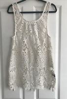 GEORGE WHITE LACE FLORAL BEACH DRESS SIZE S 10 -12 VGC WORN ONCE