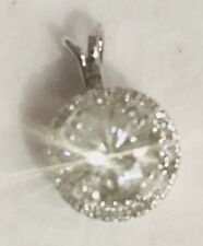 1.05CT  Moissanite halo Pendant With Diamonds 10K White Gold