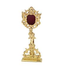 Reliquiar mit Steinen Monstranz Hausaltar Messing Öffnung hinten goldfarbig 7622