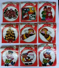 9 Instant Stained Glass Commodore Hand Painted Christmas Vintage Peel Stick NIP